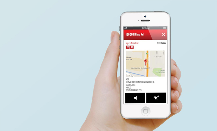 The Phoenix G2 Fire Station Alerting app shown on an iPhone